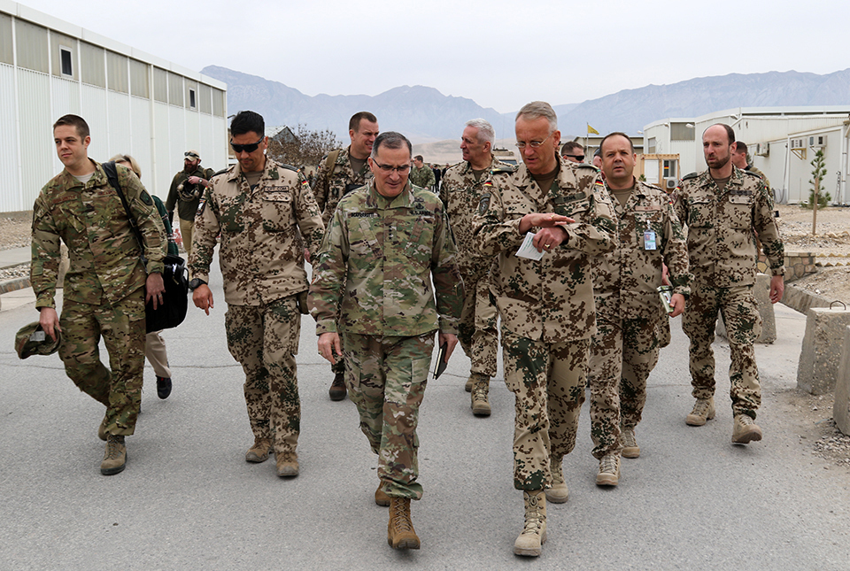 Army Gen. Curtis M. Scaparrotti, commander of U.S. European Command and NATO's supreme allied commander for Europe, visits leaders from NATO's Resolute Support Mission and Afghanistan's security forces at Train, Advise, Assist Command-North in Mazar-e-Sharif, Afghanistan, Feb. 23, 2018. Army photo by Erickson Barnes