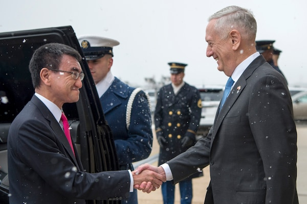 Defense Secretary James N. Mattis meets with Japanese Foreign Minister Taro Kono at the Pentagon, March 16, 2018. DoD photo by Tech Sgt. Vernon Young Jr.