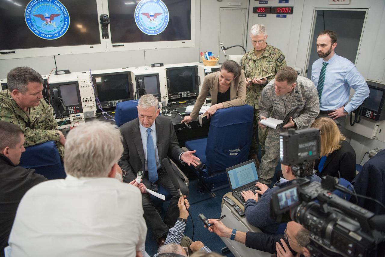 Defense Secretary James N. Mattis speaks to reporters.