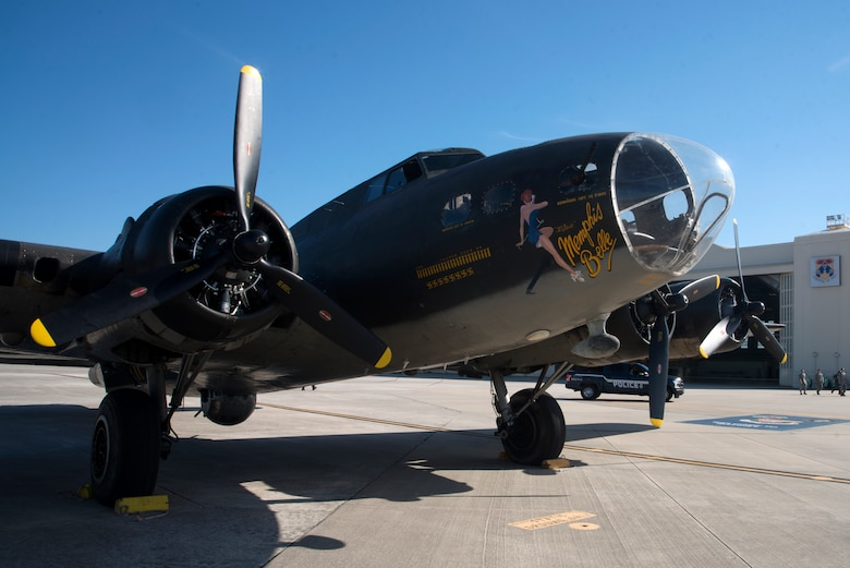 The Memphis Belle replica, a B-17 heavy bomber assigned to the 91st Bomber Group, arrived at MacDill Air Force Base, Fla., March 13, 2018.