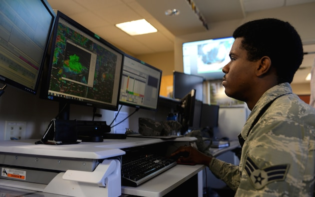 Senior Airman Tavone Travers, 14th OSS weather forecaster studies weather patterns March 12, 2018, on Columbus Air Force Base, Mississippi. Looking at previous storms and patterns airmen can learn about reoccurring weather that may help future forecasts. (U.S. Air Force photo by Airman 1st Class Keith Holcomb)