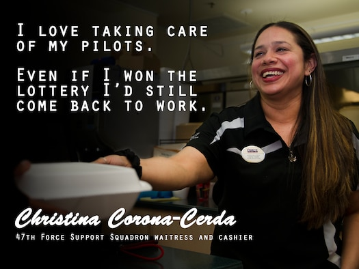 Christina Corona-Cerda, 47th Force Support Squadron waitress and cashier, delivers a food order on Laughlin Air Force Base, Texas, March 13, 2018. Corona-Cerda describes her role as an Air Force civilian as a way of giving back to a community that she loves. (U.S. Air Force graphic/Airman 1st Class Benjamin N. Valmoja)