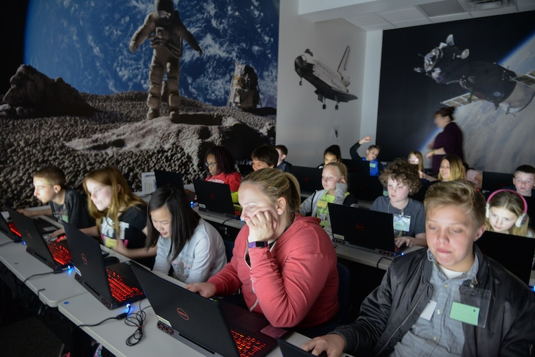 Sixth graders from King Elementary in Layton, Utah, learn computer-aided design during Starbase at Hill Air Force Base March 14, 2018. Starbase is a nationwide program that aims to introduce elementary school students to science, technology, engineering and math and is funded entirely by the Department of Defense.(U.S. Air Force photo by Cynthia Griggs)