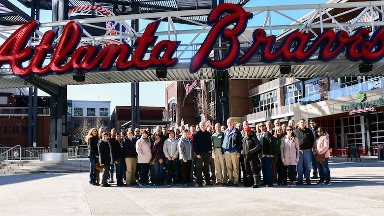 Twenty-Second Air Force Senior Leader Summit attendees pose in front of SunTrust Park prior to an evening team-building event in conjunction with the 22nd Air Force Senior Leader Summit March 15, 2018.