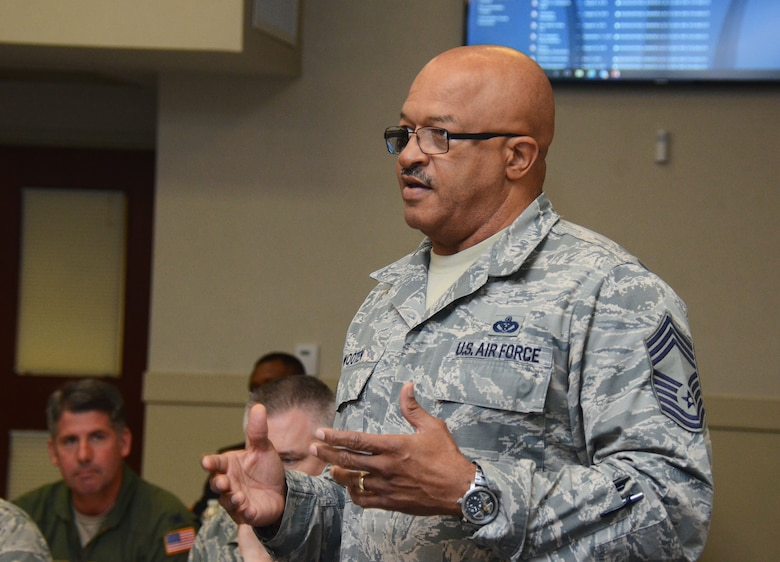 Chief Master Sgt. Timothy Wooten, 622d Civil Engineer Group chief enlisted manager, speaks during a session of the 22nd Air Force Senior Leader Summit March 14, 2018 at Dobbins Air Reserve Base, Ga.