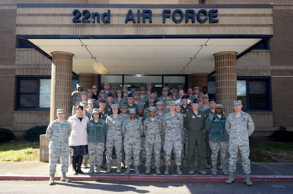 Twenty-second Air Force Senior Leader Summit attendees pose in front of the Numbered Air Force headquarters March 15, 2018 at Dobbins Air Reserve Base, Georgia.