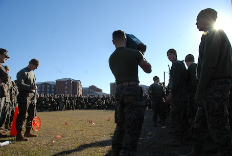 On March 15, 2018 Marine Corps Engineer School (MCES) hosted the annual St. Patrick's Day Engineer Field Meet to pay homage to St. Patrick, the patron saint for engineers; build camaraderie amongst the engineer and utility communities, and compete for the Engineer Field Meet Trophy. The Blarney Stone Toss is a test of strength and Marines hurl a 40 pound stone to see who can throw it the farthest.