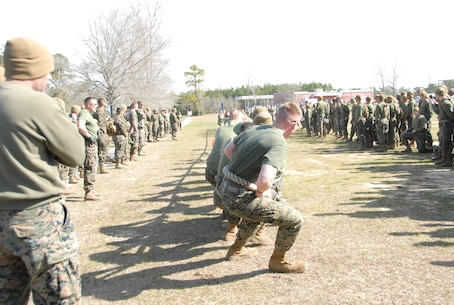 On March 15, 2018 Marine Corps Engineer School (MCES) hosted the annual St. Patrick's Day Engineer Field Meet to pay homage to St. Patrick, the patron saint for engineers; build camaraderie amongst the engineer and utility communities, and compete for the Engineer Field Meet Trophy. One of the events was a Tug of War.