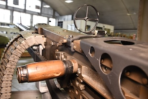 (03/09/2018) -- View of a .50 Caliber Machine Gun in the left waist gun position of the Boeing B-17F Memphis Belle. Plans call for the aircraft to be placed on permanent public display in the WWII Gallery here at the National Museum of the U.S. Air Force on May 17, 2018. (U.S. Air Force photo by Ken LaRock)