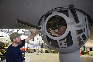(02/22/2018) -- Museum restoration specialists Chad Vanhook and Roger Brigner work on ball turret components for the Boeing B-17F Memphis Belle. Plans call for the aircraft to be placed on permanent public display in the WWII Gallery here at the National Museum of the U.S. Air Force on May 17, 2018. (U.S. Air Force photo by Ken LaRock)