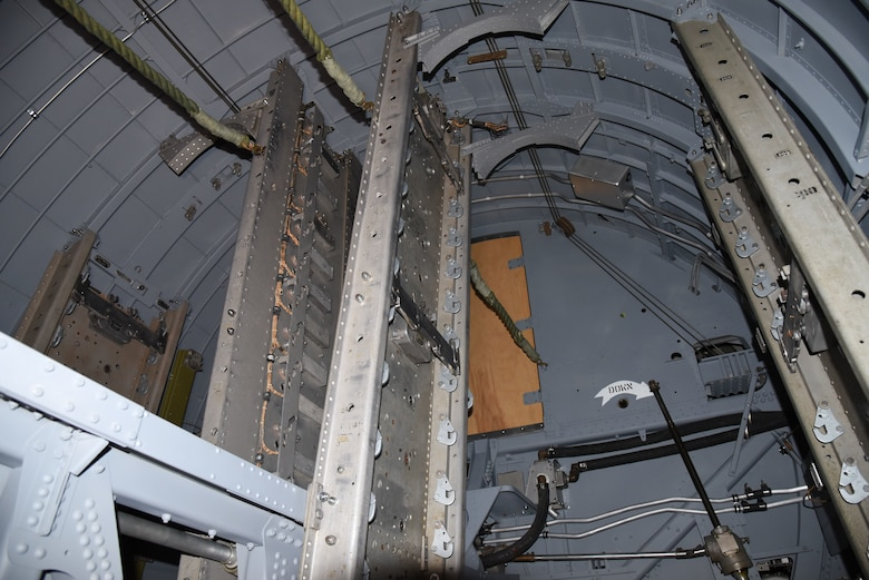(03/07/2018) -- A view of the bomb bay in the Boeing B-17F Memphis Belle during the restoration process. Plans call for the aircraft to be placed on permanent public display in the WWII Gallery here at the National Museum of the U.S. Air Force on May 17, 2018. (U.S. Air Force photo by Ken LaRock)