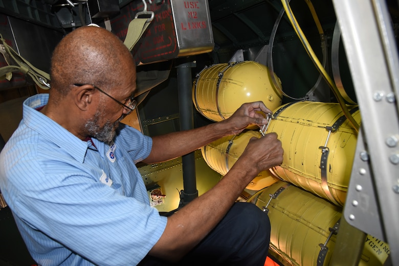 (03/09/2018) -- Museum restoration specialist Dave Robb installs oxygen tanks in the Boeing B-17F Memphis Belle. Plans call for the aircraft to be placed on permanent public display in the WWII Gallery here at the National Museum of the U.S. Air Force on May 17, 2018. (U.S. Air Force photo by Ken LaRock)
