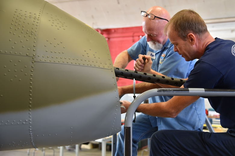 (01/30/2018) -- National Museum of the U.S. Air Force restoration crews installing tail guns on the Boeing B-17F Memphis Belle. Plans call for the aircraft to be placed on permanent public display in the WWII Gallery here at the National Museum of the U.S. Air Force on May 17, 2018. (U.S. Air Force photo by Ken LaRock)