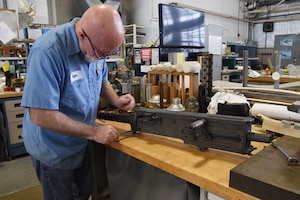 (01/30/2018) --  Museum restoration specialist Roger Brigner works on the tail guns for the Boeing B-17F Memphis Belle. Plans call for the aircraft to be placed on permanent public display in the WWII Gallery here at the National Museum of the U.S. Air Force on May 17, 2018. (U.S. Air Force photo by Ken LaRock)