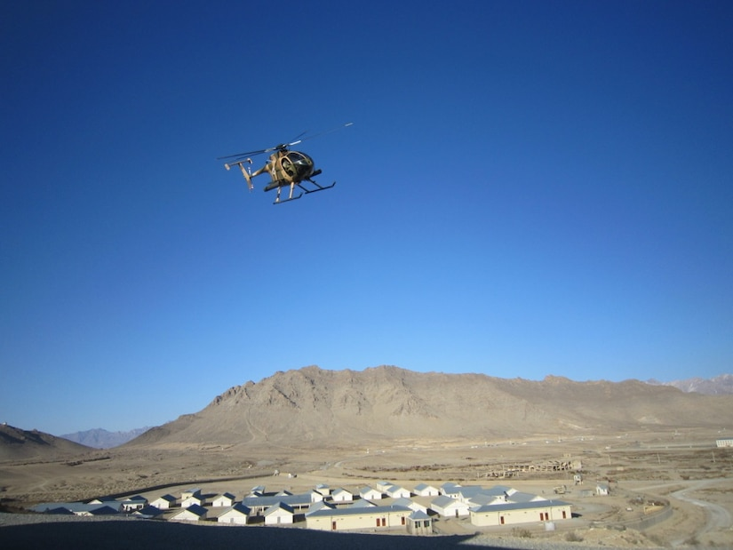 A Special Mission Wing helicopter delivers Crisis Response Unit 222 operators to the target during an exercise at the military training center in Kabul, Afghanistan, Feb. 3, 2018. The exercise tested the ability of the special operators to conduct rapid mission planning and execution in a condensed time period. NATO Special Operations Component Command-Afghanistan photo by Lashawn Sykes