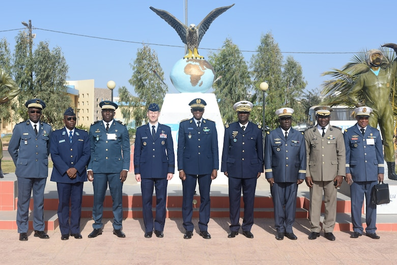 Distinguished visitors from participating African countries pose for a photo after the opening ceremony of African Partnership Flight Senegal at Captain Andalla Cissé Air Base, Senegal, March 19, 2018.  The purpose of APF Senegal is to conduct multilateral, military-to-military engagements and security assistance with African air forces. (U.S. Air Force photo by Airman 1st Class Eli Chevalier)