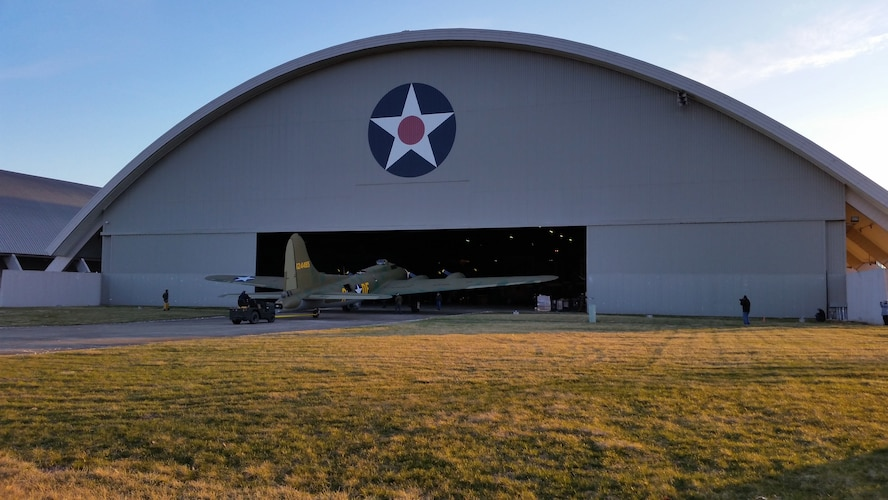 (03/14/2018) -- The B-17F Memphis Belle moves along the tow path into the WWII Gallery at the National Museum of the United States Air Force on March 14, 2018. Plans call for the aircraft to be placed on permanent public display in the WWII Gallery here at the National Museum of the U.S. Air Force on May 17, 2018. (U.S. Air Force photo by Robert Bardua)