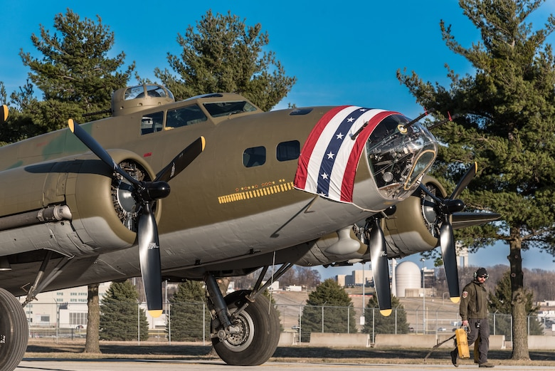 (03/14/2018) -- The B-17F Memphis Belle moves along the tow path on the way to the WWII Gallery at the National Museum of the United States Air Force on March 14, 2018. Plans call for the aircraft to be placed on permanent public display in the WWII Gallery here at the National Museum of the U.S. Air Force on May 17, 2018. (U.S. Air Force photo by Kevin Lush)