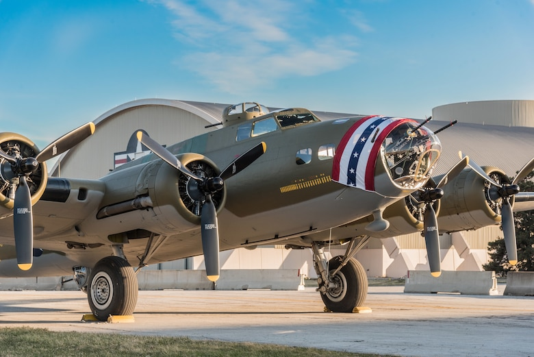 (03/14/2018) -- The B-17F Memphis Belle poses for photos before moving into the WWII Gallery at the National Museum of the United States Air Force on March 14, 2018. Plans call for the aircraft to be placed on permanent public display in the WWII Gallery here at the National Museum of the U.S. Air Force on May 17, 2018. (U.S. Air Force photo by Kevin Lush)