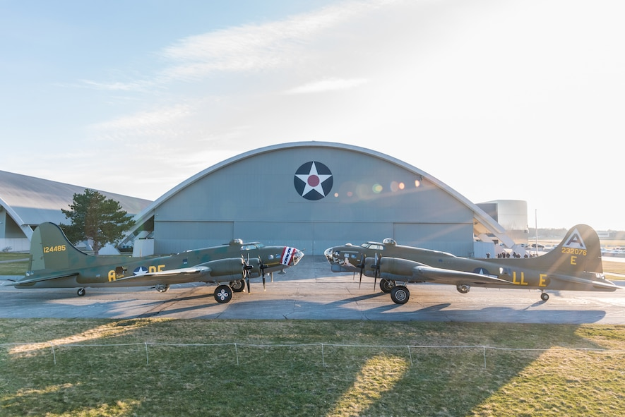 (03/14/2018) -- The B-17F Memphis Belle, left, poses for photos along with the B-17G Shoo Shoo Baby at the National Museum of the United States Air Force on March 14, 2018. Plans call for the Memphis Belle aircraft to be placed on permanent public display in the WWII Gallery here at the National Museum of the U.S. Air Force on May 17, 2018. (U.S. Air Force photo by Kevin Lush)(03/14/2018) -- The B-17F Memphis Belle poses for photos before moving into the WWII Gallery at the National Museum of the United States Air Force on March 14, 2018. Plans call for the aircraft to be placed on permanent public display in the WWII Gallery here at the National Museum of the U.S. Air Force on May 17, 2018. (U.S. Air Force photo by Kevin Lush)