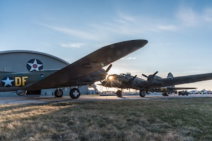 (03/14/2018) -- The B-17F Memphis Belle, left, poses for photos along with the B-17G Shoo Shoo Baby at the National Museum of the United States Air Force on March 14, 2018. Plans call for the aircraft to be placed on permanent public display in the WWII Gallery here at the National Museum of the U.S. Air Force on May 17, 2018. (U.S. Air Force photo by Kevin Lush)