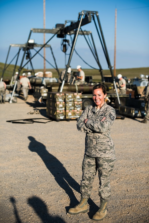 Tech. Sgt. Ashley Long, 9th Munitions Squadron Air Force Combat Ammunition Center combat adviser, poses for a photo at Beale Air Force Base, California, March 12, 2018. The portrait was used in a series that highlighted women for Women's History Month. (U.S. Air Force photo by Senior Airman Justin Parsons)