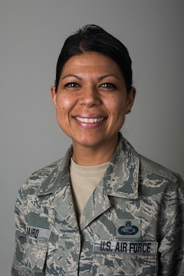 Master Sgt. Lorena Baird, 195th Wing personnel superintendent, poses for a photo at Beale Air Force Base, California, March 3, 2018. The portrait was used in a series that highlighted women for Women's History Month. (U.S. Air Force photo by Senior Airman Justin Parsons)