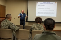 Jeff White, 20th Medical Group patient safety program manager, conducts a safety coach orientation at Shaw Air Force Base, S.C., March 14, 2018.