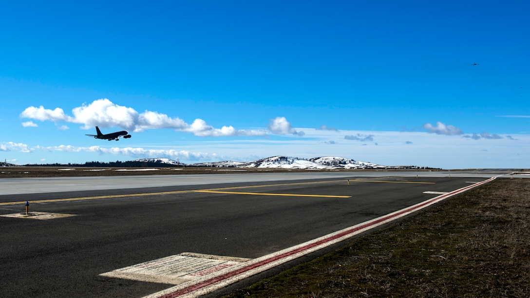 A Team Fairchild KC-135 Stratotanker takes off during exercise Titan Fury at Fairchild Air Force Base, Washington, March 9, 2018. Titan Fury is a readiness exercise used to validate and enhance Fairchild Airmen's ability to provide Rapid Global Mobility as required by U.S. Strategic Command and U.S. Transportation Command. (U.S. Air Force photo/ Airman 1st Class Whitney Laine)