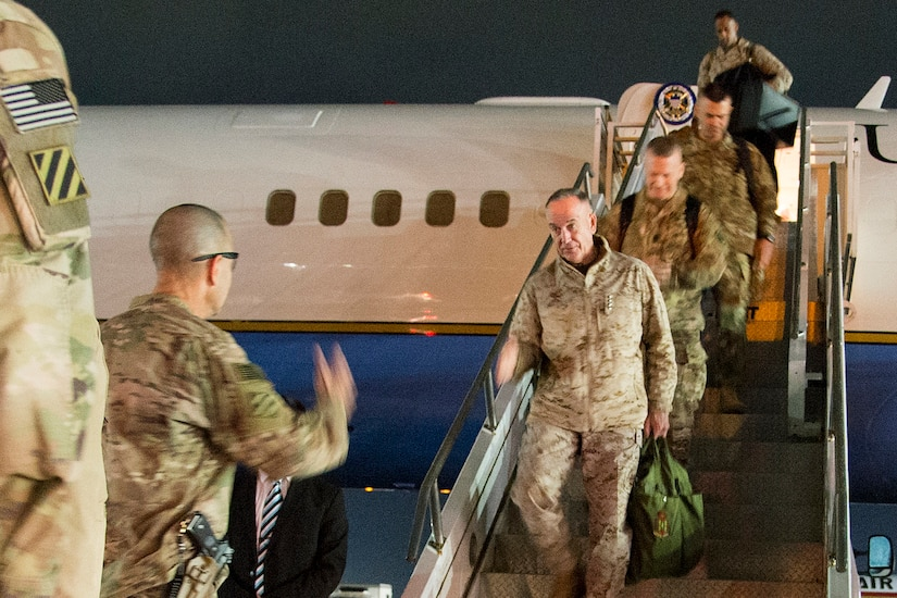 Marine Gen. Joe Dunford, chairman of the Joint Chiefs of Staff, arrives in Afghanistan.