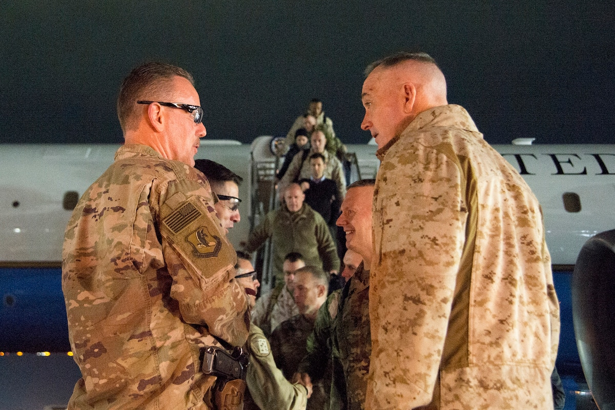 Marine Gen. Joe Dunford, chairman of the Joint Chiefs of Staff, speaks with leaders of U.S. Forces-Afghanistan.