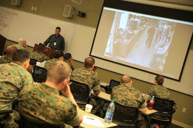 Marines and sailors from Reserve stations across the country attend the Operational Stress Control and Readiness train-the-trainer course, March 12-16, 2018, at Marine Corps Support Facility New Orleans. The OSCAR course gives Marines and sailors training on how to identify, support and advise service members with stress reactions, acting as sensors for the commander by noticing small changes in behavior and taking action early. (U.S. Marine Corps photo by Pfc. Samantha Schwoch/released)