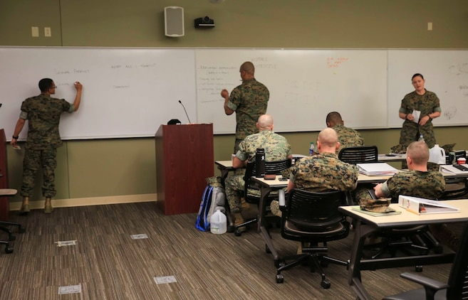 Marines and sailors attending the Operational Stress Control and Readiness train-the-trainer course practice conducting the teach-back portion of their certification, March 14, 2018, at Marine Corps Support Facility New Orleans. In order to become an OSCAR Trainer, the service members have to prove their ability to be able to teach the course and build an OSCAR team. (U.S. Marine Corps photo by Pfc. Samantha Schwoch/released)