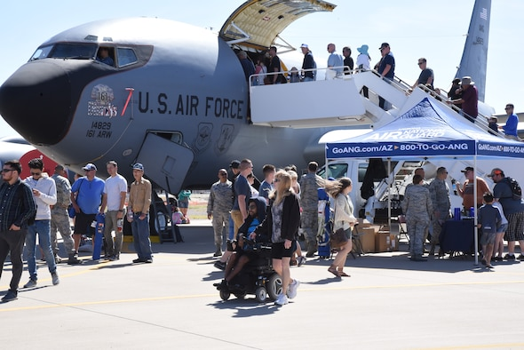 Multitudes of onlookers board the KC-135R aircraft and interact with wing members to gain an understanding of the refueling capabilities of the aircraft and the mission of the wing here, during the Luke Days Air Show, March 17, 2018. The state mission of the 161st Air Refueling Wing is to provide emergency relief support during natural disasters such as floods, earthquakes and forest fires; search and rescue operations; support to civil defense authorities; maintenance of vital public services and counterdrug operations. (U.S. Air National Guard photo by 1st Lt. Tinashe Machona)