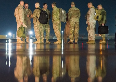 Marine Gen. Joe Dunford, chairman of the Joint Chiefs of Staff, meets with leadership of U.S. Forces - Afghanistan an the 455th Air Expeditionary Wing after arriving at Bagram Air Field, March 19, 2018. DoD Photo by Navy Petty Officer 1st Class Dominique A. Pineiro
