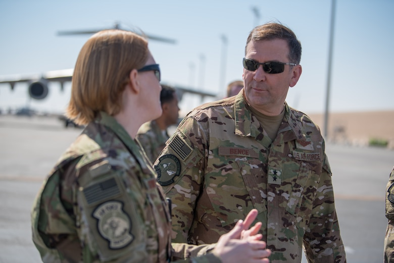 Maj. Gen. Christopher J. Bence, commander of the U.S. Air Force Expeditionary Center, tours the facilities of the 8th Expeditionary Air Mobility Squadron at Al Udeid Air Base, Qatar, March 4, 2018. The visit, part of a nine-day tour of various components of the 521st Air Mobility Operations Wing, provided Bence an opportunity to see the day-to-day operations of the 8 EAMS, observe how they complete their mission, and commemorate a few selected Airmen for their outstanding performance. (U.S. Air Force photo by Staff Sgt. Joshua Horton)