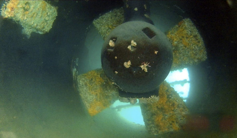 Marine growth build up on an LCU bow thruster propeller.