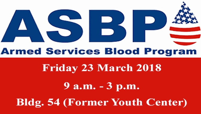 The Armed Services Blood Program will return to base to host a blood drive this Friday, March 23, 2018.