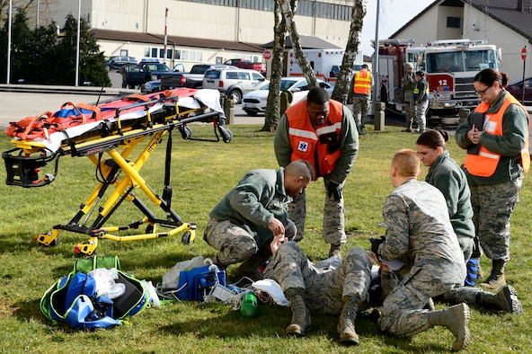 Airmen from the wing headquarters area were evacuated during the simulated fire.