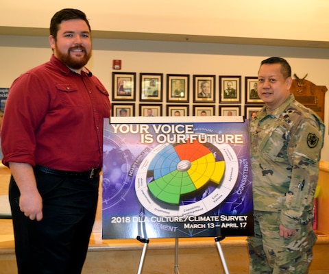 Ryan Jeffries, a Medical Culture Improvement Team member, left, and Army Col. Alex Zotomayor, Medical supply chain director, right, pose for a photo during a pep rally at DLA Troop Support in Philadelphia, March 14, 2018. The Medical CIT used the pep rally to encourage employees to participate in the 2018 DLA Culture/Climate Survey.