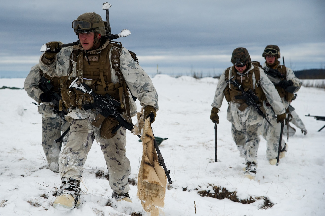 Marines with Kilo Company, 3rd Battalion, 8th Marine Regiment, conduct a joint live-fire training exercise at Fort Greely, Alaska, as part of the U.S. Army Alaska-led Joint Force Land Component Command in support of Alaskan Command's exercise Arctic Edge 18 conducted under the authority of U.S. Northern Command, March 15, 2018. Air Force photo by Capt. Virginia Lang