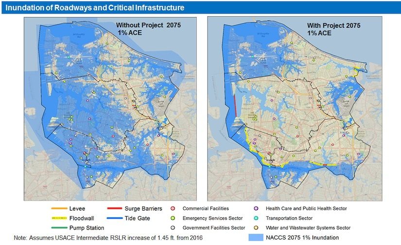 Graphic depicting inundation of roadways and critical infrastructure without and with projects recommended in the Norfolk Coastal Storm Risk Management Feasibility Study.