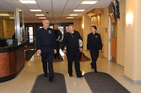 U.S. Air Force Gen. John Hyten, commander of U.S. Strategic Command (USSTRATCOM), and Maj. Gen. Nina Armagno, USSTRATCOM director of plans and policy, welcome Marine Nationale (French Navy) Vice Adm. Louis-Michel Guillaume, commander of submarine and strategic oceanic forces for France's Armed Forces Ministry, to USSTRATCOM headquarters at Offutt Air Force Base, Neb., March 12, 2018. During his visit, Guillaume participated in discussions with Hyten, other senior leaders and subject matter experts on collaboration and the continuing need for strategic deterrence.