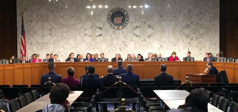U.S. Air Force Gen. John Hyten, commander of U.S. Strategic Command, testifies for the Senate Armed Services Committee in Washington, March 20, 2018.