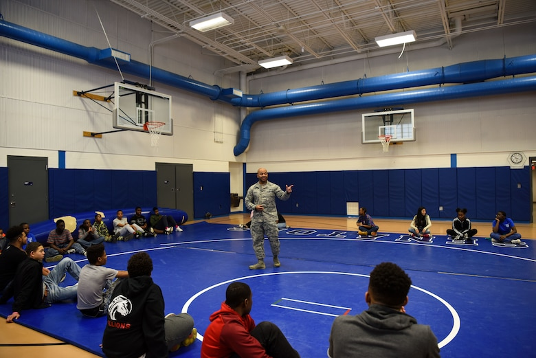 Master Sgt. Jamie Beard, 436th Maintenance Squadron first sergeant, speaks to students during a demonstration for the Green Beret Project March 8, 2018, at Central Middle School in Dover, Del. Beard, along with some of the 436th Security Forces Squadron Ravens volunteer their time with the Green Beret Project to show students a different perspective through a glimpse of military life. (U.S. Air Force Photo by Airman 1st Class Zoe M. Wockenfuss)