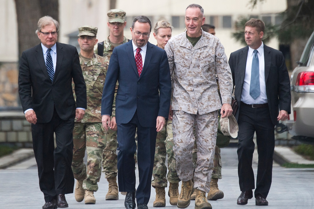 Marine Corps Gen. Joe Dunford, chairman of the Joint Chiefs of Staff, arrives for meeting