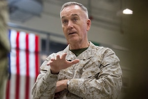 Marine Corps Gen. Joe Dunford, chairman of the Joint Chiefs of Staff, addresses service members.