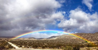 Rain in the desert can create stunning sights, such as this rainbow across Morongo Valley.