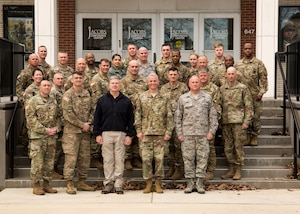 FORT EUSTIS, Va. -- Attendees of the Defense Chemical, Biological, Radiological and Nuclear Response (DCRF) Commanders Conference pose for a group photo outside the Jacob's Conference Center at Fort Langley Eustis, Va. March 8, 2018. The three-day conference allowed Joint Task Force Civil Support (JTF-CS) and DCRF leadership to review how thousands of military service members would respond to a catastrophic disaster in the U.S, whether manmade or natural.  JTF-CS provides command and control for designated Department of Defense specialized response forces to assist local, state, federal and tribal partners in saving lives, preventing further injury, and providing critical support to enable community recovery.