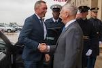 Defense Secretary James N. Mattis shakes hands with the Norwegian defense minister outside the Pentagon.